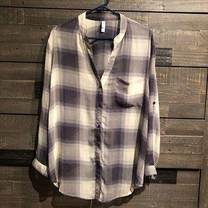 xhilaration sheer flannel print blouse. Size L